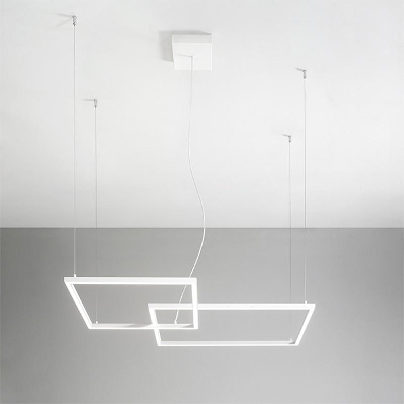 lampada a sospensione con due riquadri in metallo bianco di perenz
