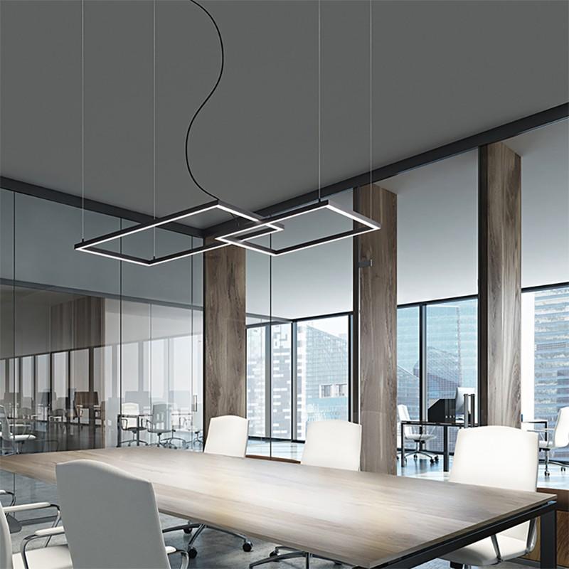 lampada a sospensione con due riquadri in alluminio verniciato nero di perenz
