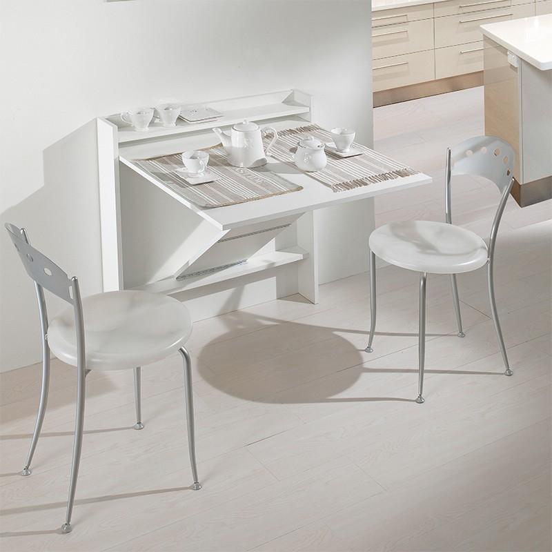 tavolo consolle ribaltabile a muro di maconi in legno bianco ambientato