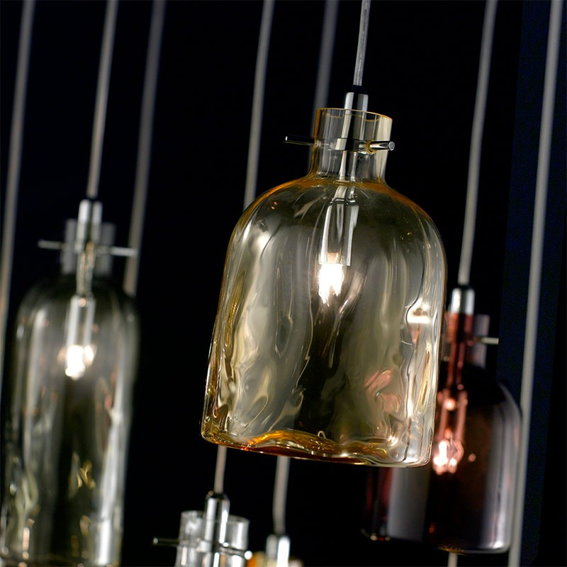 lampada a sospensione bossa nova ambra di selène