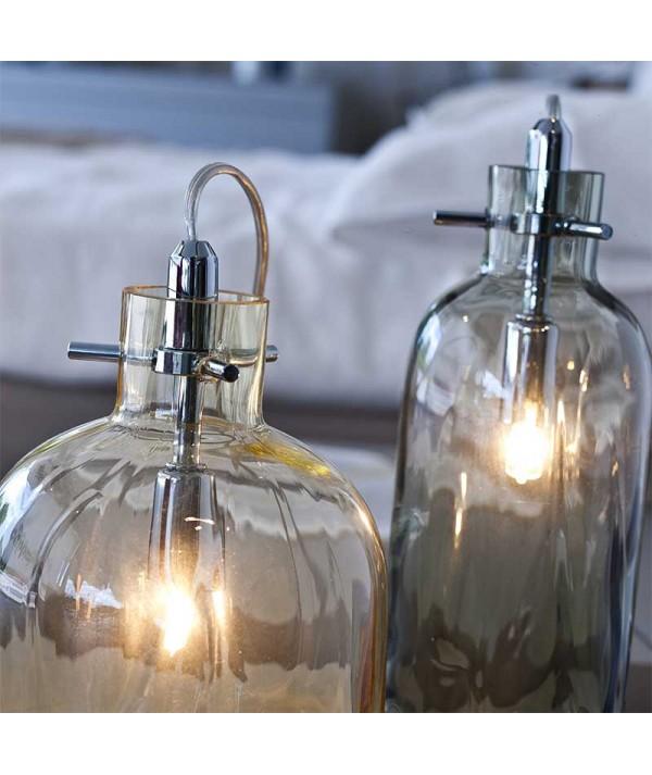 lampada da tavolo bossa nova ambra e fumè di selène