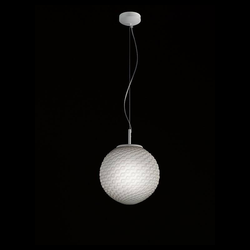 lampada a sospensione Domino Fumè sferica di selene
