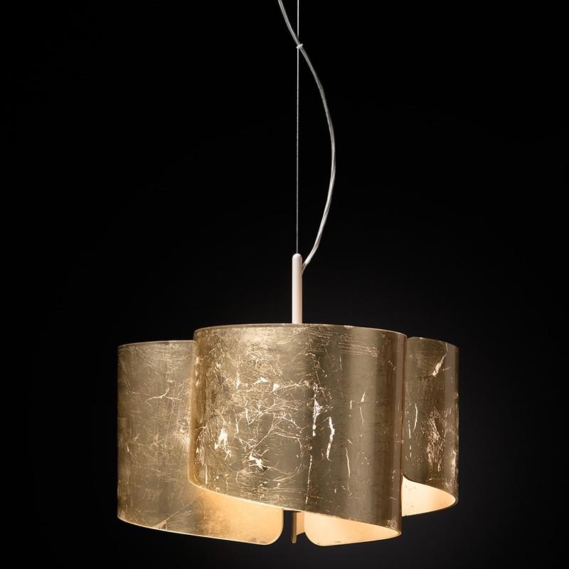 lampada a sospensione di selène papiro in foglia oro