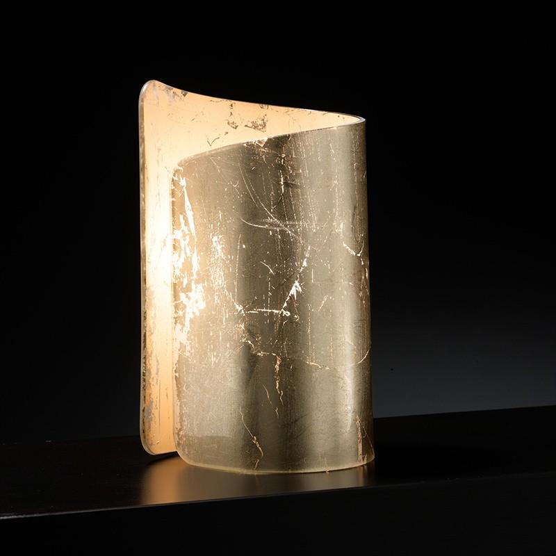 lampada da tavolo lumetto papiro di selène con decoro foglia argento