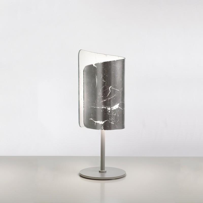 lampada da tavolo papiro di selène con decoro foglia argento