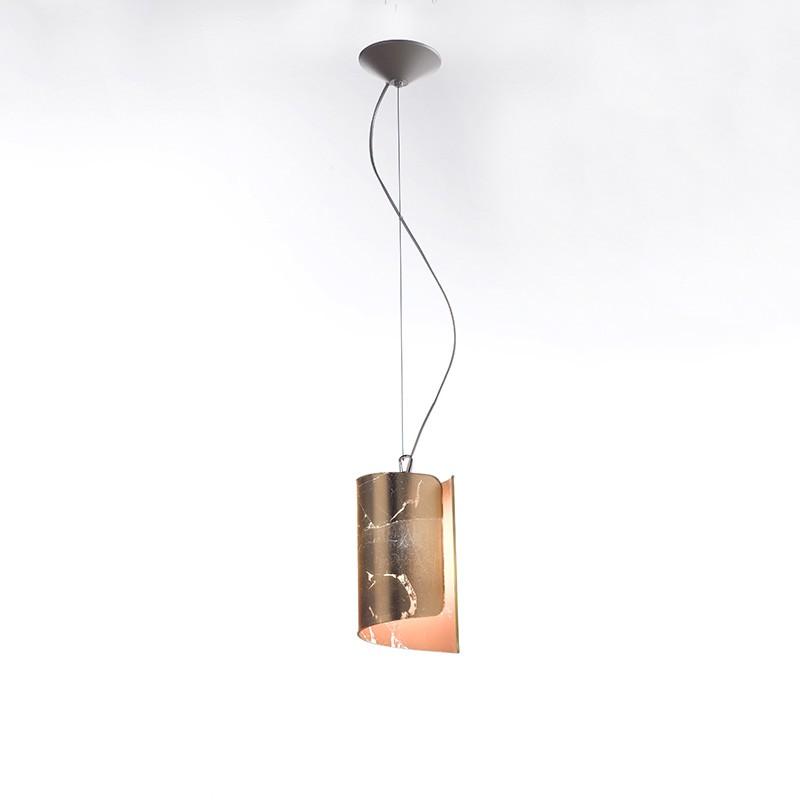 lampada a sospensione piccola di selène papiro in foglia oro