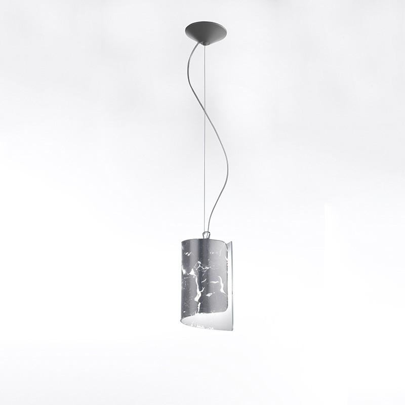 lampada a sospensione piccola di selène papiro in foglia argento