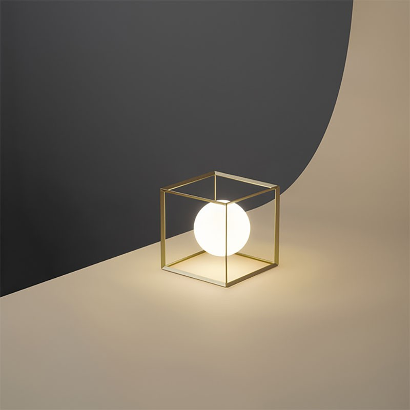 Lampada da Tavolo Cube Oro di Perenz