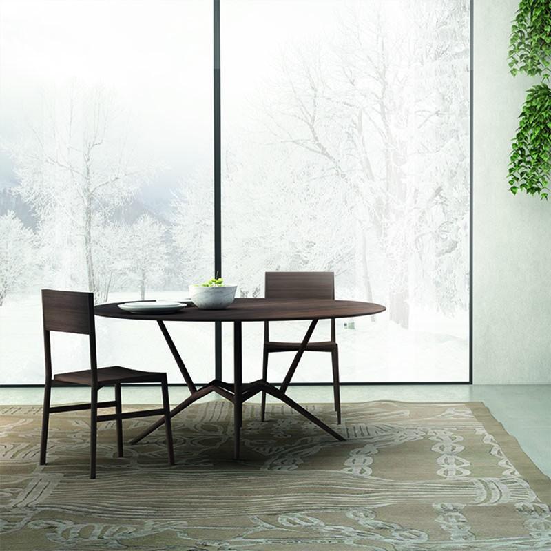 tavolo ottagono in legno massello di noce di caon arreda
