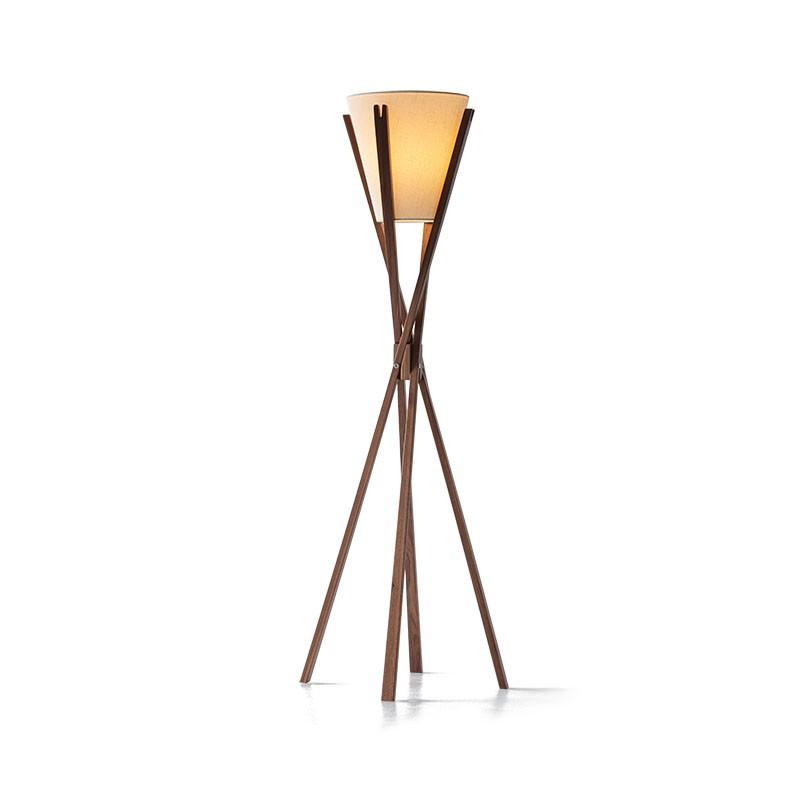 lampada da terra di caon arreda in legno noce