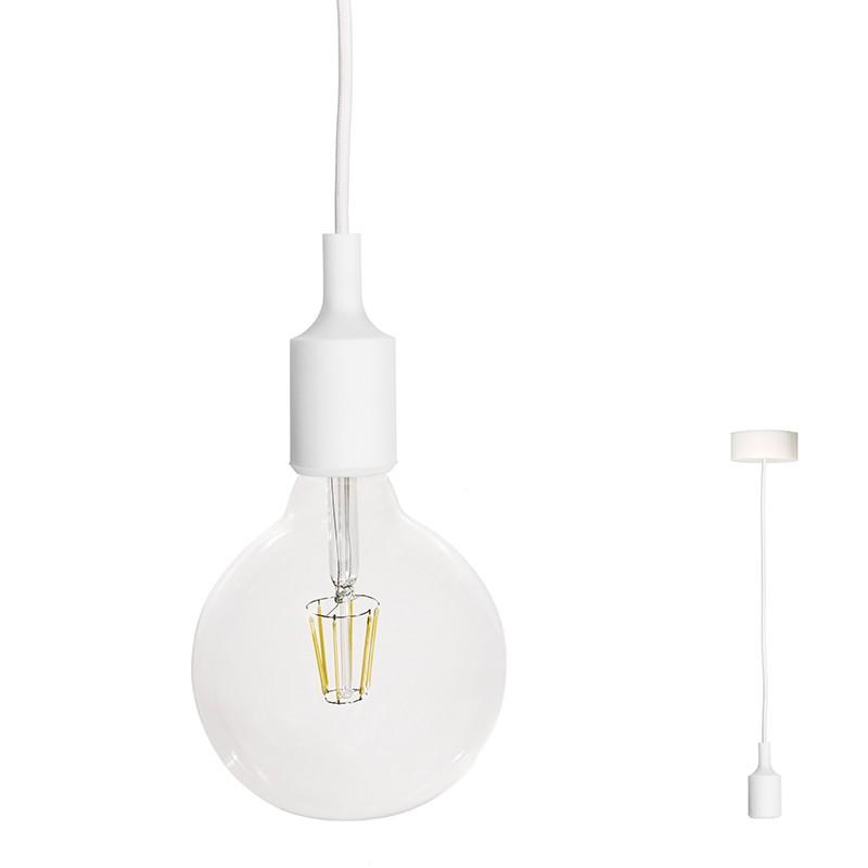 lampada a sospensione Filotto Siliconico con attacco E 27 in silicone bianco