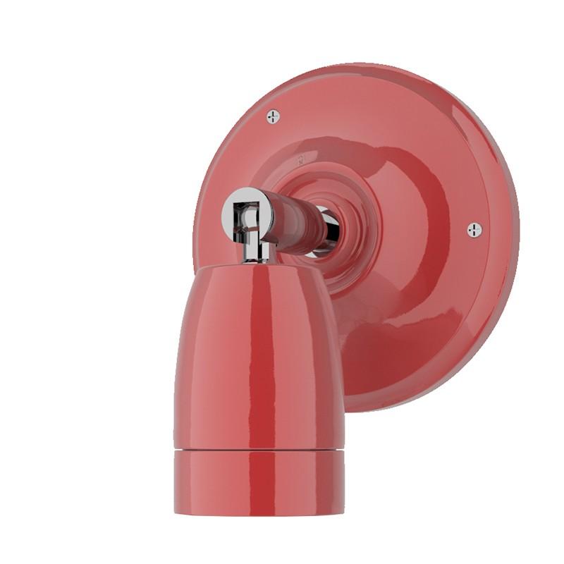 Lampada Il Muro Ceramico E27 con portalampada orientabile ed attacco a parete in ceramica rosso chiaro con filo in tessuto