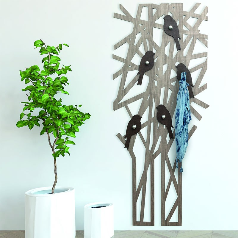 Appendiabiti da parete Magritte Fumo/Wengè de I-Dettagli