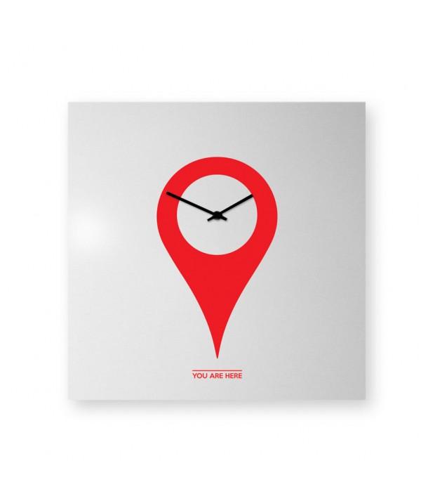Orologio da parete YouAreHere bianco e rosso