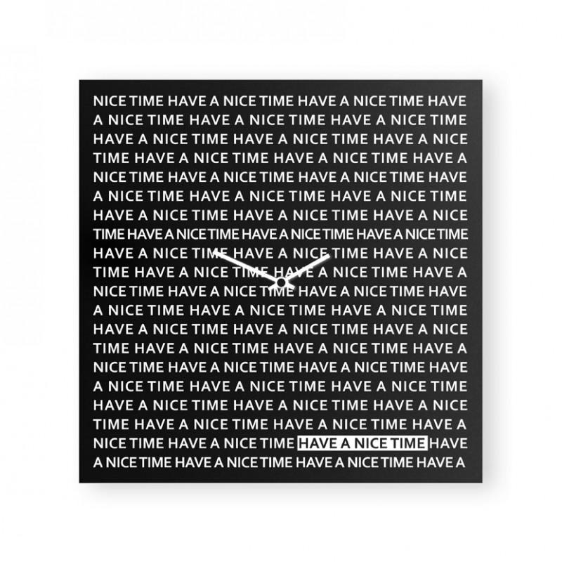 Nice Time nero orologio da parete in lamiera di metallo serigrafata a mano