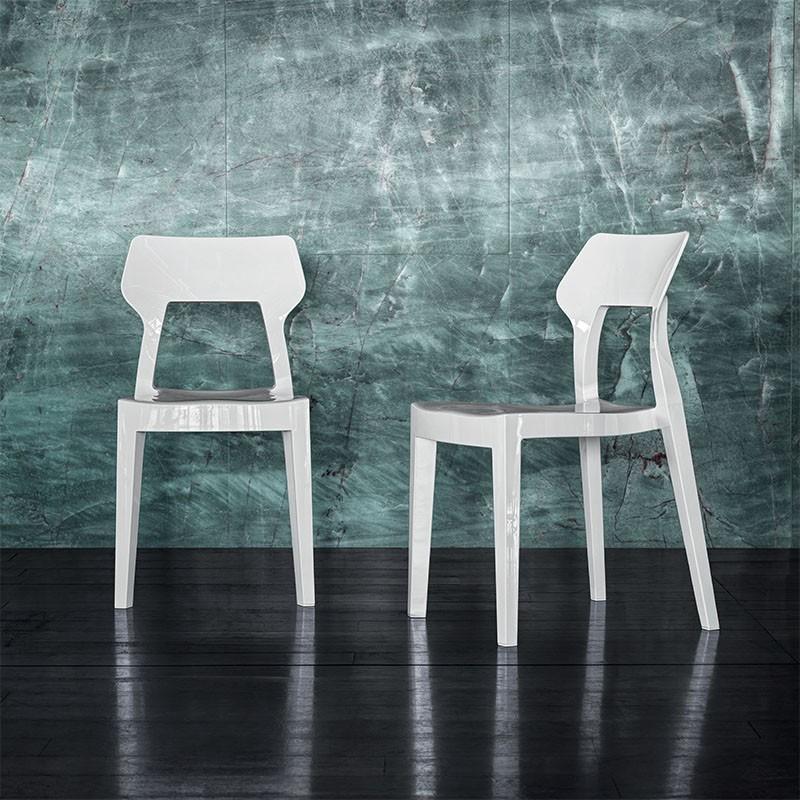 sedia aria di bontempi casa in polipropilene bianco lucido