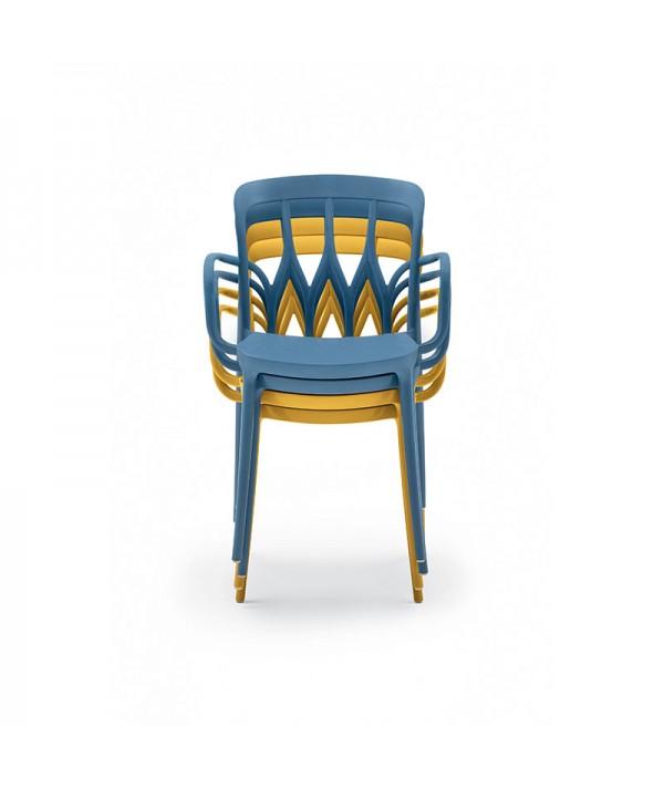 sedia gipsy impilabile di bontempi casa in polipropilene colorato e fibra di vetro riciclabile