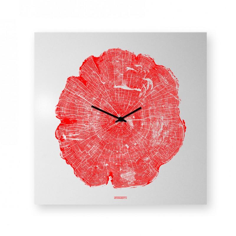 Orologio Life da parete realizzato con lamiera di metallo serigrafata a mano, disegno rosso