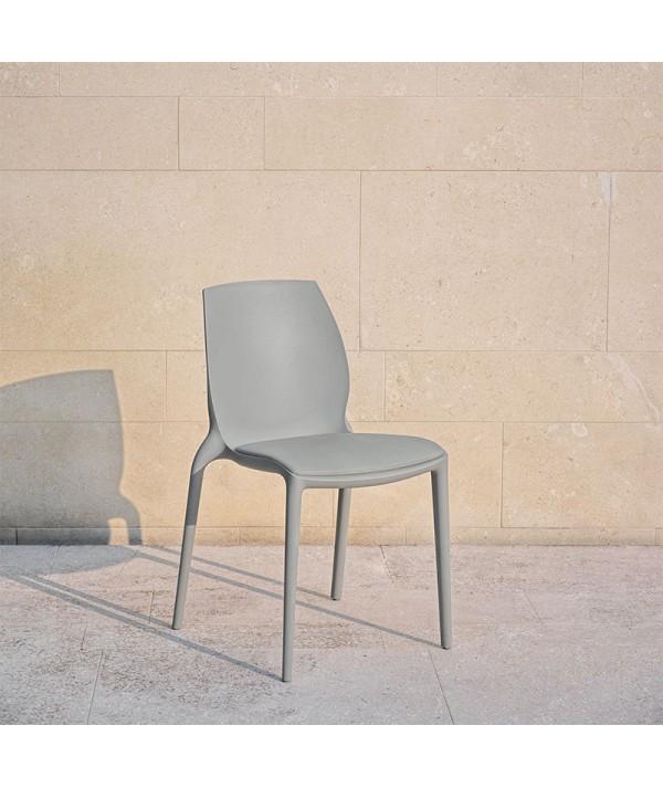 sedia Hidra di bontempi casa in polipropilene grigio con cuscino