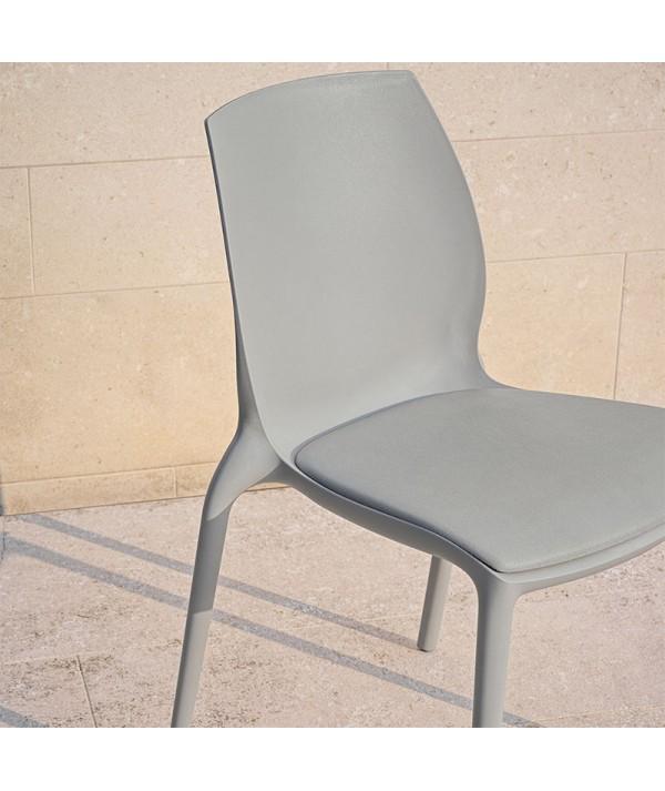 sedia Hidra di bontempi casa in polipropilene grigio con cuscino in tinta