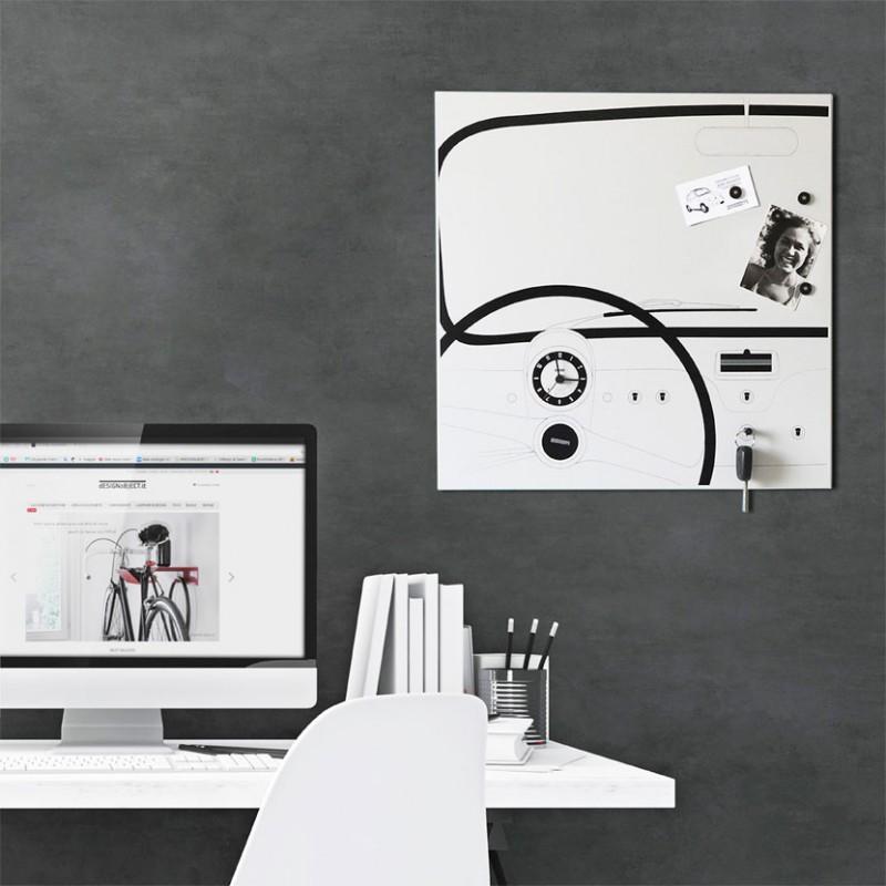 Orologio-organizer da parete Cinquino realizzato su lamiera di metallo serigrafata a mano