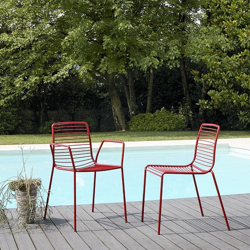 Set 2 sedie Summer con Braccioli color Mattone