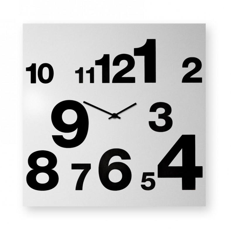 Orologio da parete Numbers realizzato su lamiera di metallo bianca serigrafata a mano