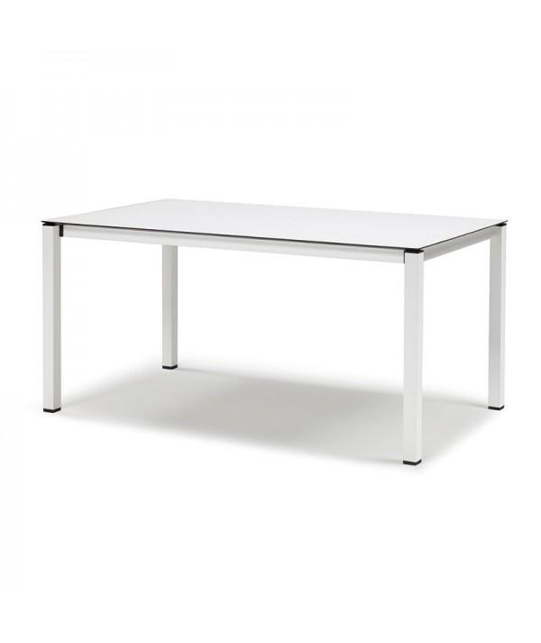 Tavolo Pranzo Allungabile di Scab con struttura in acciaio e piano stratificato HPL bianco