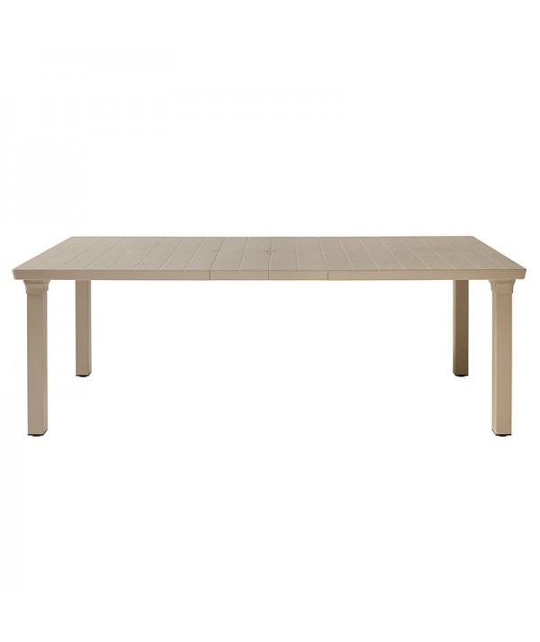 Tavolo Allungabile Per3 di scab con gambe in allumino e piano in tecnopolimero tortora allungato