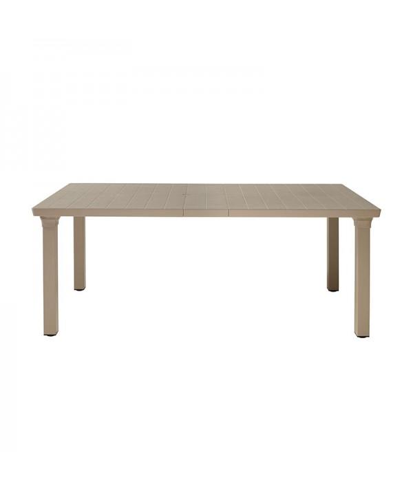 Tavolo Allungabile Per3 di scab con gambe in allumino e piano in tecnopolimero tortora con una prolunga