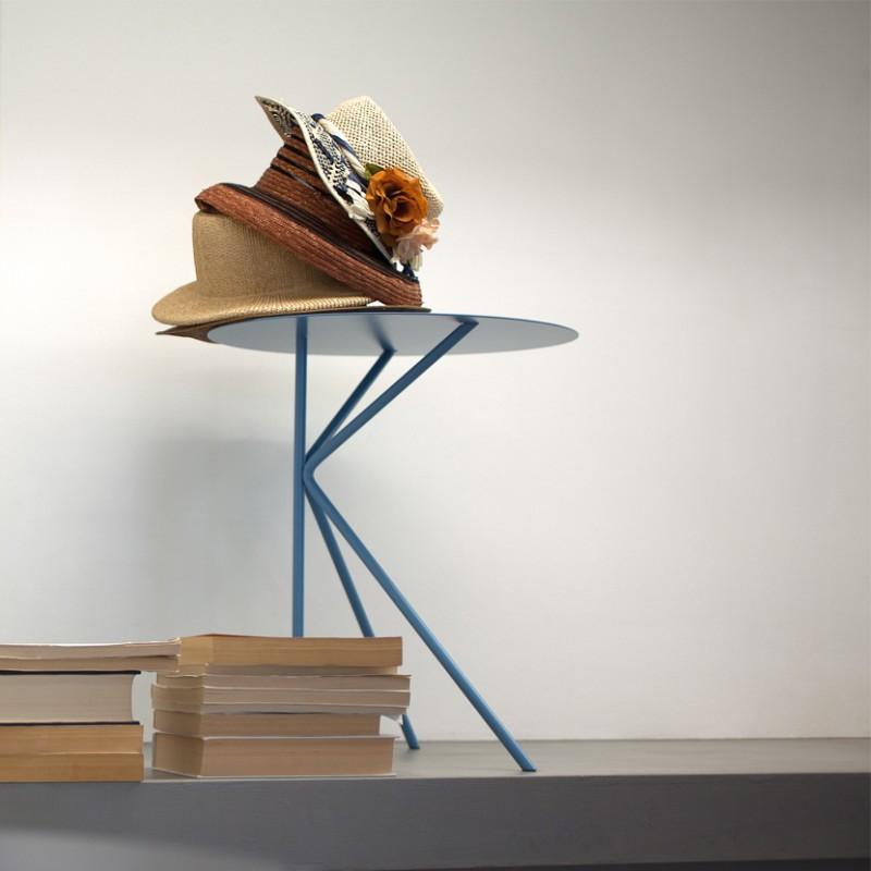 Tavolino rotondo Twin  alto in metallo con gambe sottili