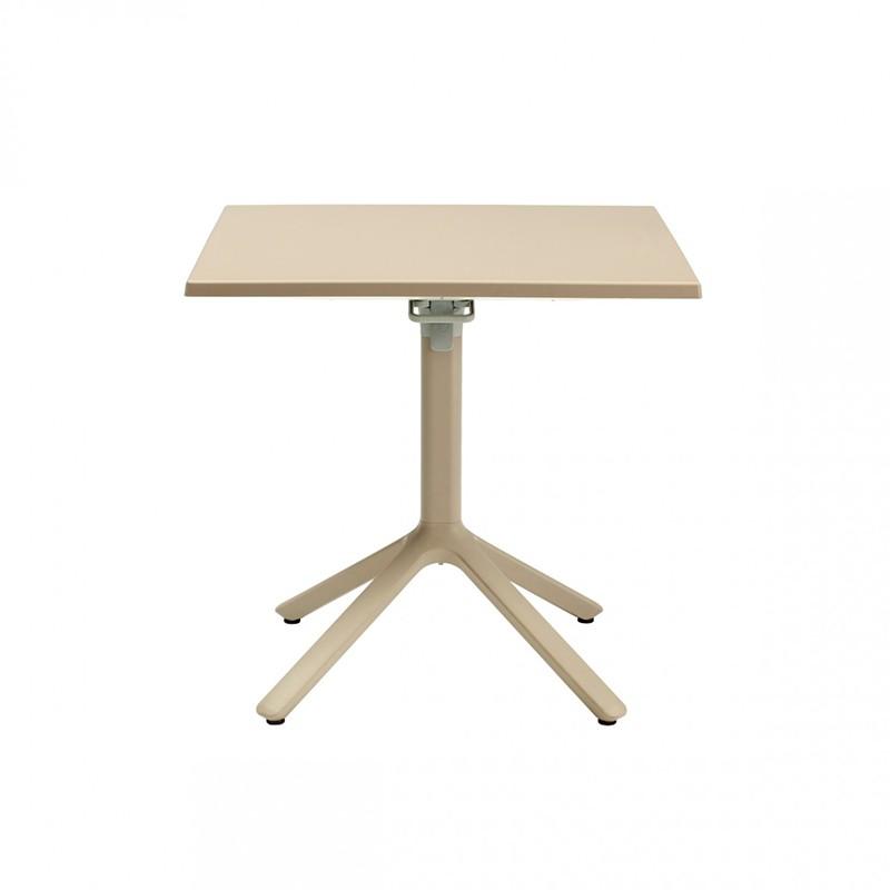 tavolino eco liscio affiancabile in alluminio con piano in tecnopolimero tortora