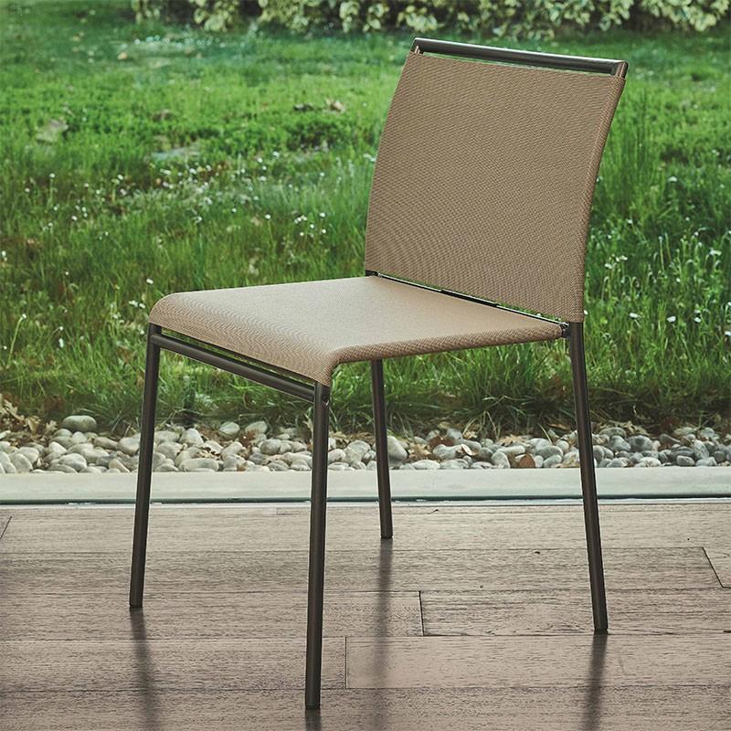 sedia per esterni lola di ingenia bontempi in metallo e texiplast  sabbia