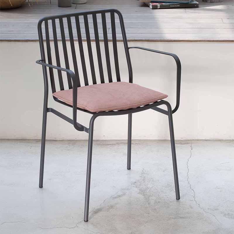 sedia con braccioli per esterno street di ingenia bontempi in acciaio laccato antracite