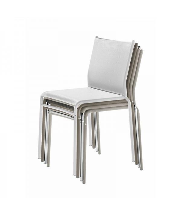 sedia per esterni liù di ingenia bontempi in metallo e texiplast  impilabile