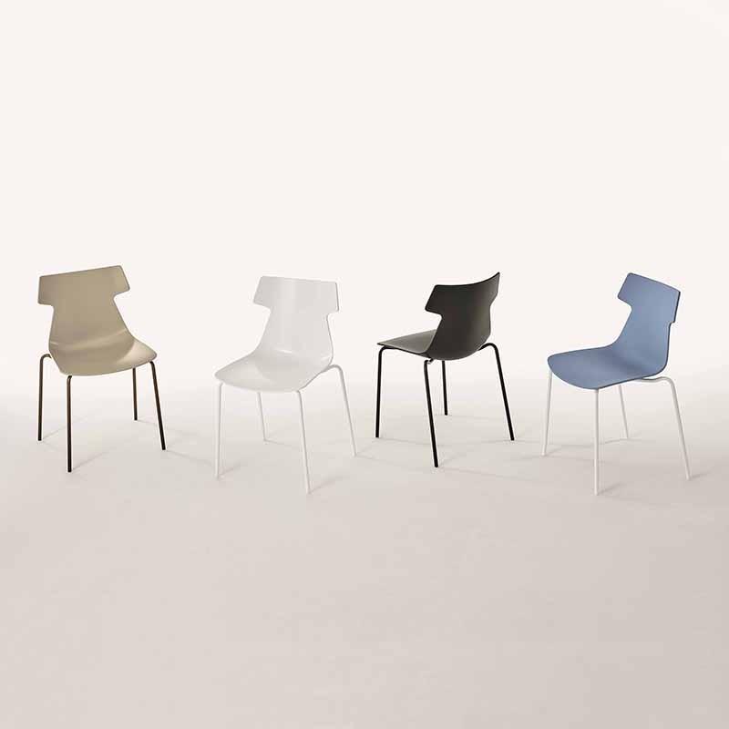 sedia giulia di ingenia bontempi in metallo laccato e restylon  bianco blu sabbia nero