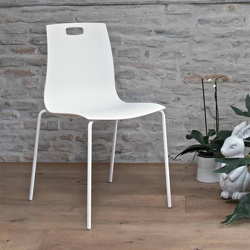 sedia per esterno only di ingenia bontempi in acciaio e polipropilene bianco