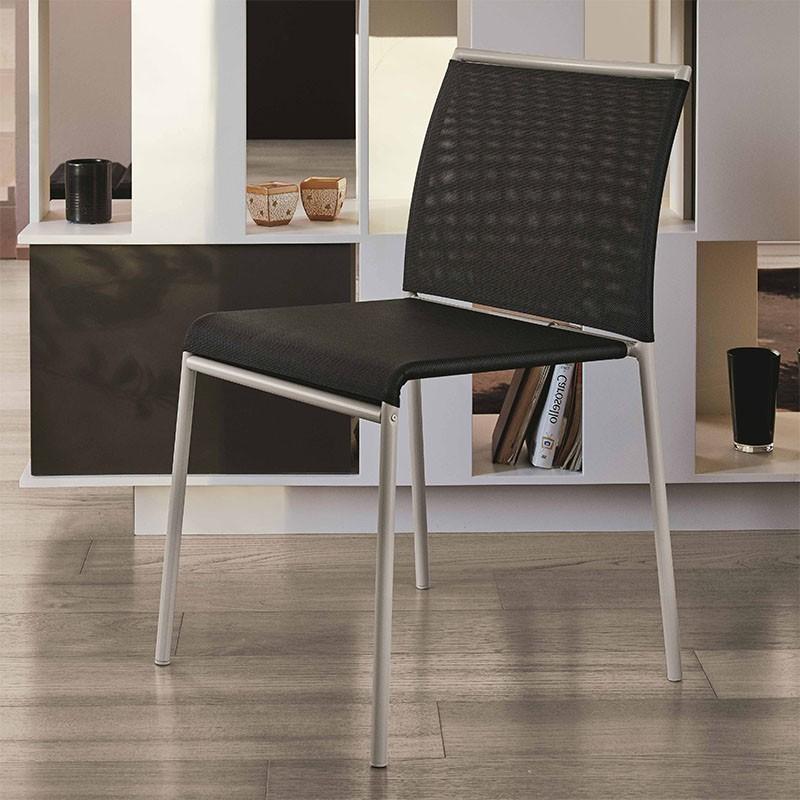 sedia per esterni lola di ingenia bontempi in metallo e texiplast   nero