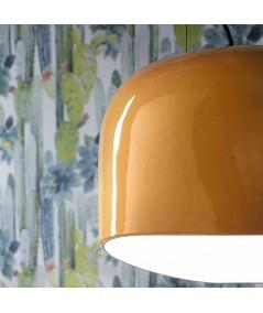 ampada a sospensione linea decò di ferroluce in ceramica giallo particolare lucido