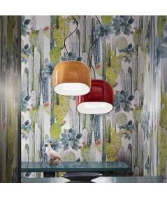 lampada a sospensione ayrton di deco ferroluce in ceramica giallo o rosso ambientata