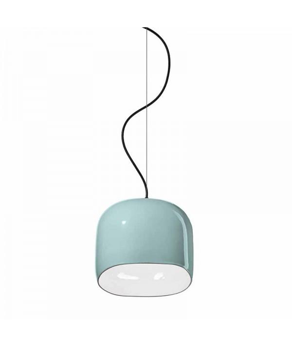 lampada a sospensione ayrton di deco ferroluce in ceramica azzurro