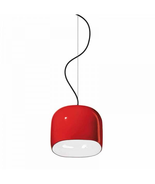 lampada a sospensione ayrton di deco ferroluce in ceramica rossa