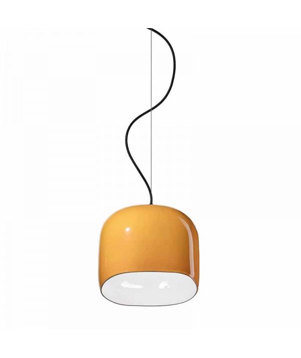 lampada a sospensione ayrton di deco ferroluce in ceramica giallo