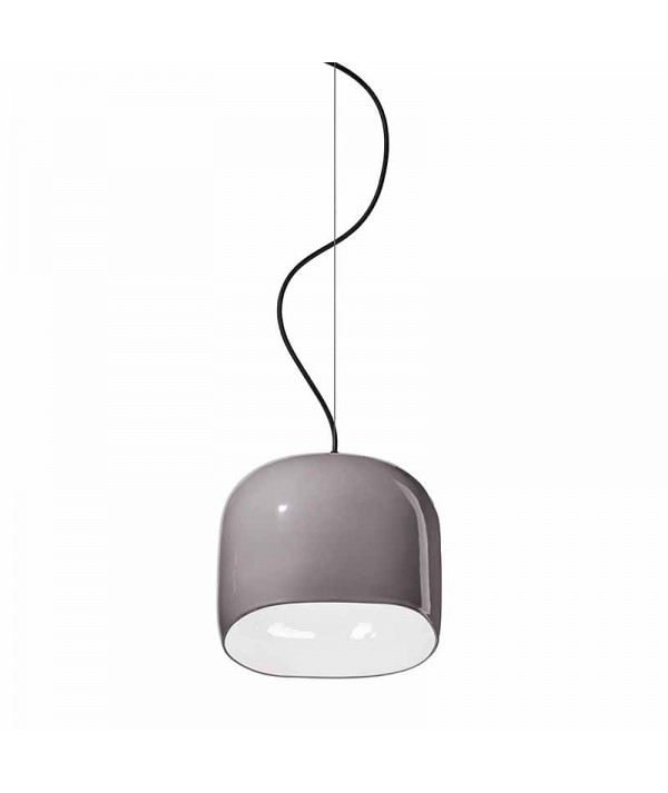 lampada a sospensione ayrton di deco ferroluce in ceramica grigio