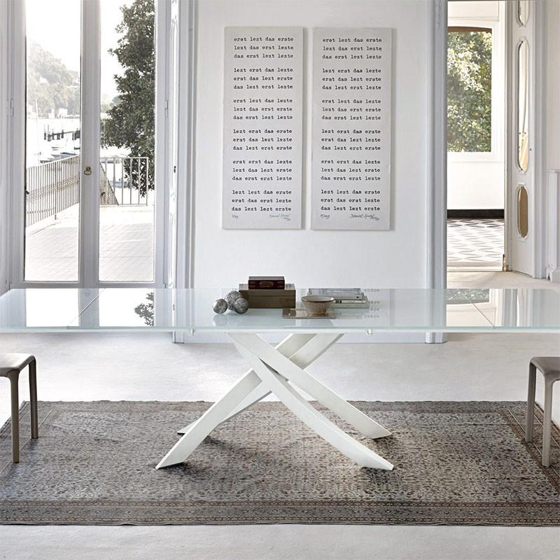 tavolo allungabile artistico in acciaio e cristallo bianco extrawhite lucido