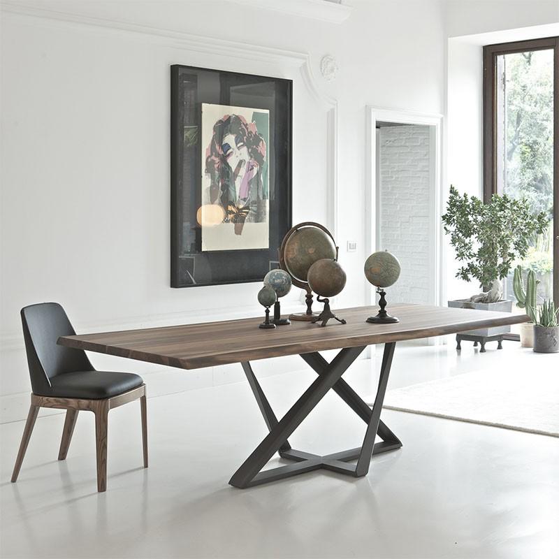 tavolo fisso millenium di boontempi casa in acciaio antracite e rovere spessart ambientato