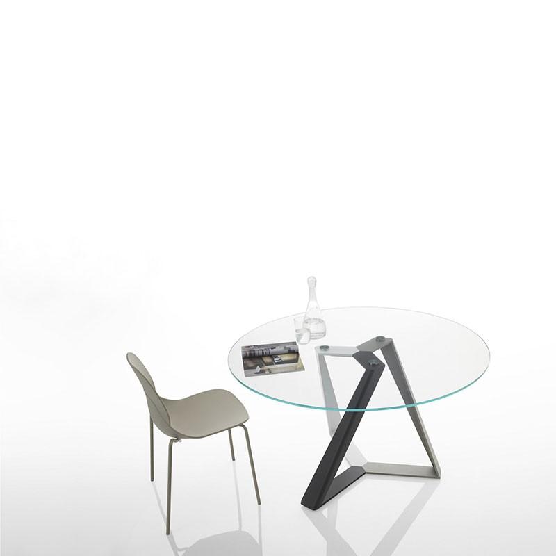 tavolo rotondo millenium di bontempi casa in acciaio e cristallo trasparente extrachiaro