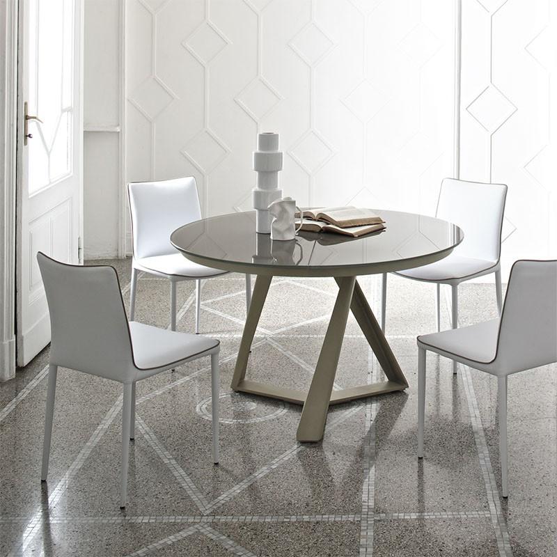 tavolo rotondo allungabile millennium di bontempi casa in acciao laccato e cristallo tortora lucido
