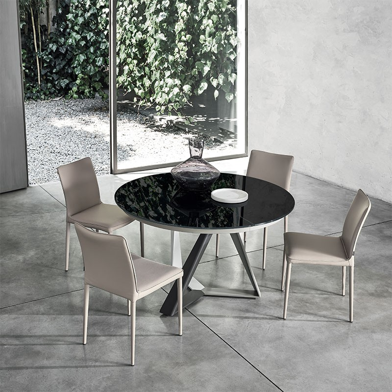 tavolo rotondo allungabile millennium di bontempi casa in acciao laccato e cristallo nero lucido