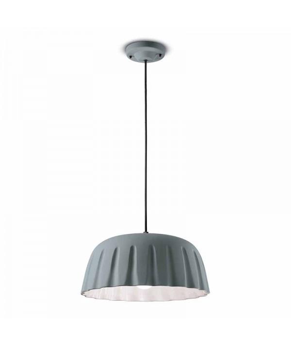 lampade a sospensione di ferroluce in ceramica grigio tele